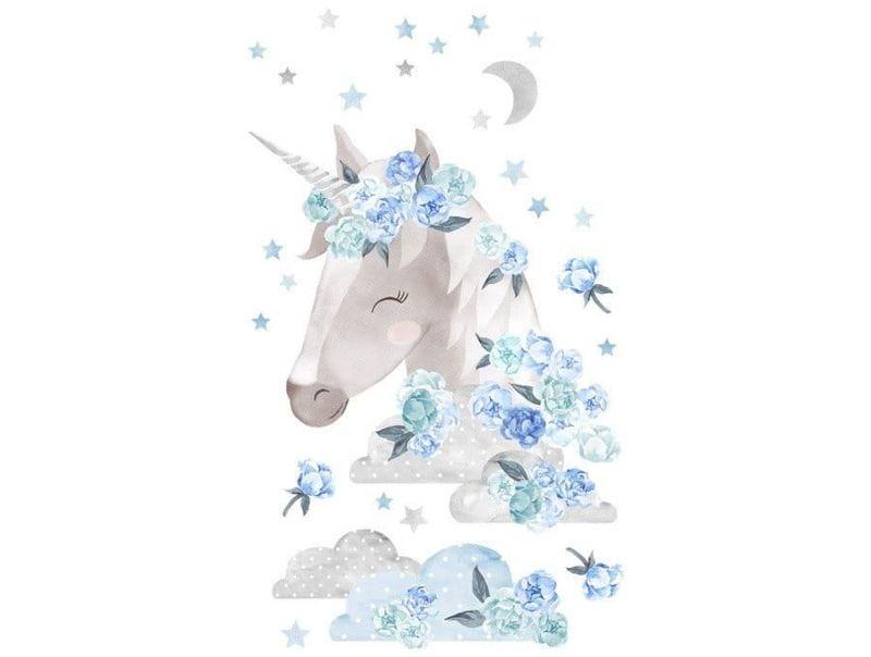 naklejka   jednorożec niebieski Pastelowe Love