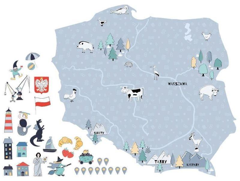 naklejka | mapa polski - niebieska Pastelowe Love