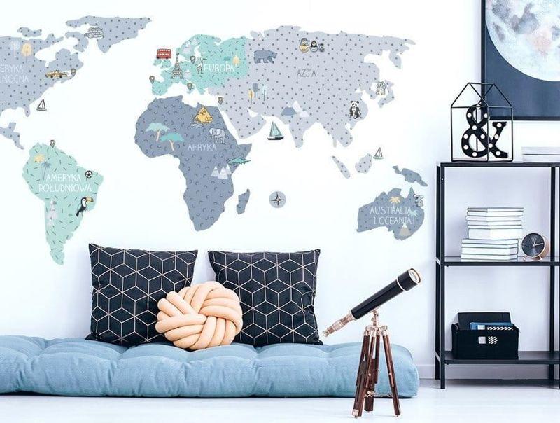 naklejka   mapa świata - niebieska Pastelowe Love