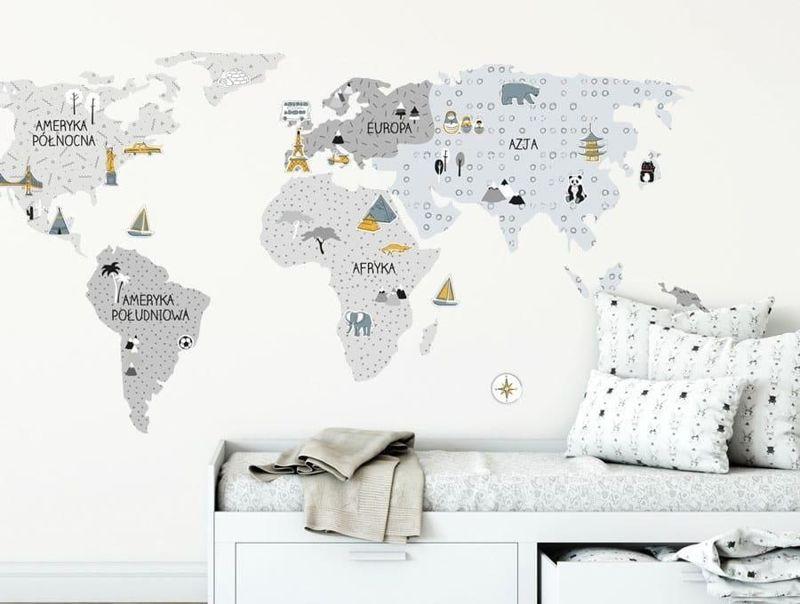 naklejka | mapa świata - szara Pastelowe Love