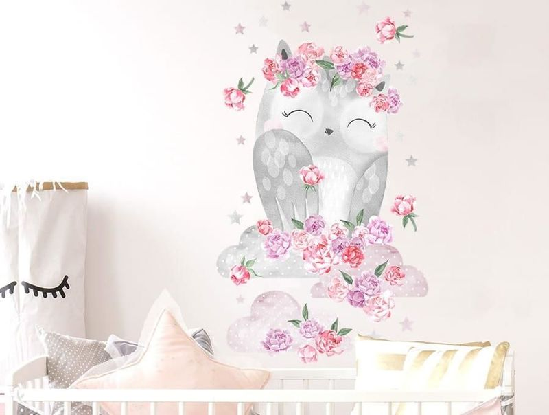 naklejka | sowa różowa Pastelowe Love